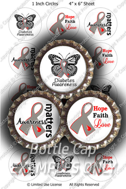 Digital Bottle Cap Images - Diabetes Matters Collage Sheet (R1098) 1 Inch Circles for Bottlecaps, Magnets, Jewelry, Hairbows, Buttons8