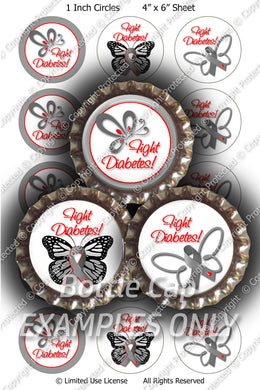 Digital Bottle Cap Images - Diabetes Butterfly Collage Sheet (R1099) 1 Inch Circles for Bottlecaps, Magnets, Jewelry, Hairbows, Buttons