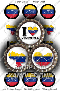 Digital Bottle Cap Images - Venezuela Flag Collage Sheet (R1100) 1 Inch Circles for Bottlecaps, Magnets, Jewelry, Hairbows, Buttons