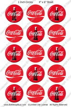 Digital Bottle Cap Images - Coca Cola Collage Sheet (R1102) 1 Inch Circles for Bottlecaps, Magnets, Jewelry, Hairbows, Buttons