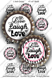 Digital Bottle Cap Images - Live Zebra Collage Sheet (R1104) 1 Inch Circles for Bottlecaps, Magnets, Jewelry, Hairbows, Buttons4