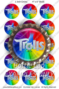 Digital Bottle Cap Images - Trolls Glitter Collage Sheet (R1108) 1 Inch Circles for Bottlecaps, Magnets, Jewelry, Hairbows, Buttons15