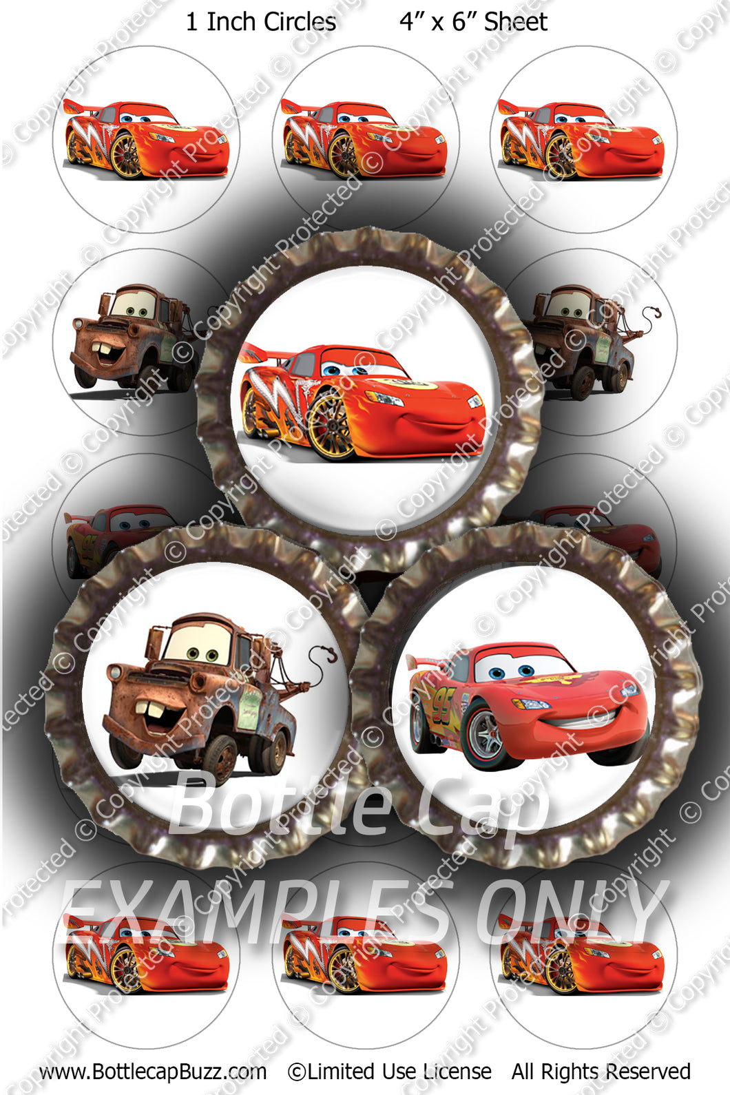 Digital Bottle Cap Images - Cars Collage Sheet (R1109) 1 Inch Circles for Bottlecaps, Magnets, Jewelry, Hairbows, Buttons15