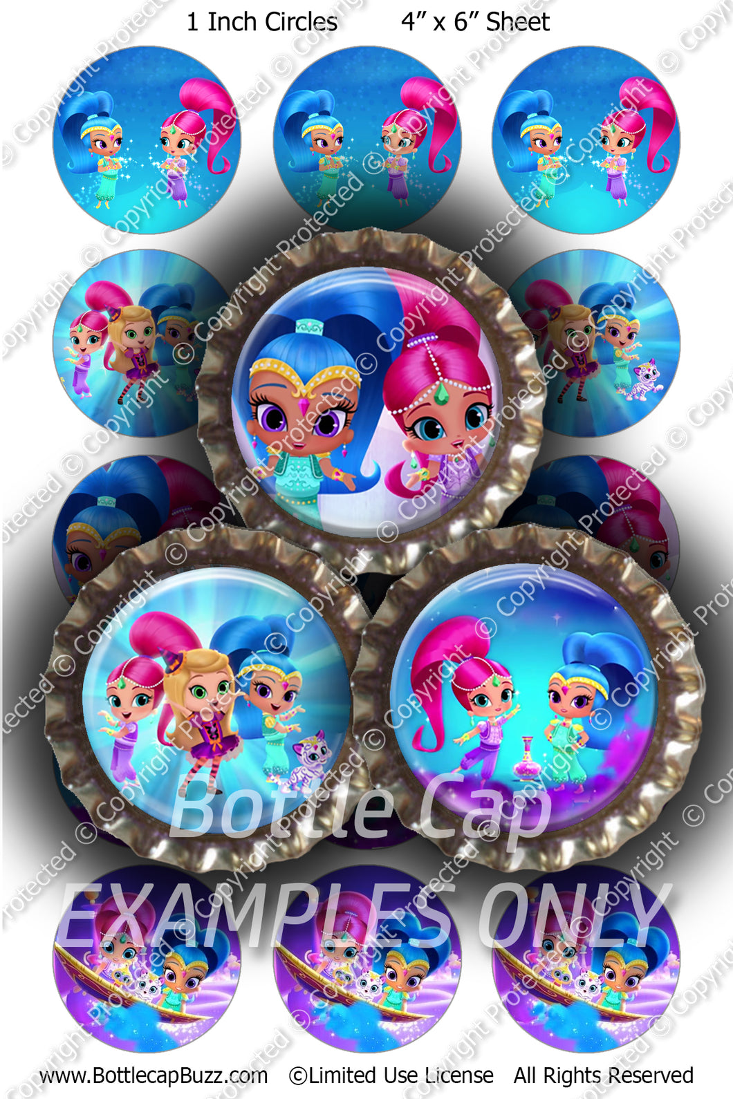 Digital Bottle Cap Images - Shimmer & Shine 1 Collage Sheet (R1110) 1 Inch Circles for Bottlecaps, Magnets, Jewelry, Hairbows, Buttons15