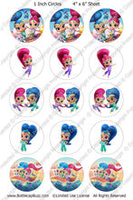 Digital Bottle Cap Images - Shimmer & Shine 2 Collage Sheet (R1111) 1 Inch Circles for Bottlecaps, Magnets, Jewelry, Hairbows, Buttons15