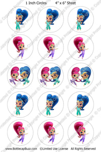 Digital Bottle Cap Images - Shimmer & Shine 3 Collage Sheet (R1112) 1 Inch Circles for Bottlecaps, Magnets, Jewelry, Hairbows, Buttons15