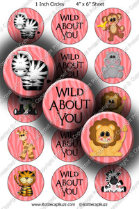 Digital Bottle Cap Images - Wild Animals Collage Sheet (R1113) 1 Inch Circles for Bottlecaps, Magnets, Jewelry, Hairbows, Buttons15