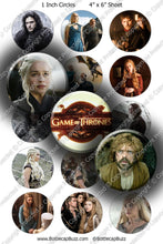 Digital Bottle Cap Images - Game of Thrones 2 Collage Sheet (R1114) 1 Inch Circles for Bottlecaps, Magnets, Jewelry, Hairbows, Buttons15