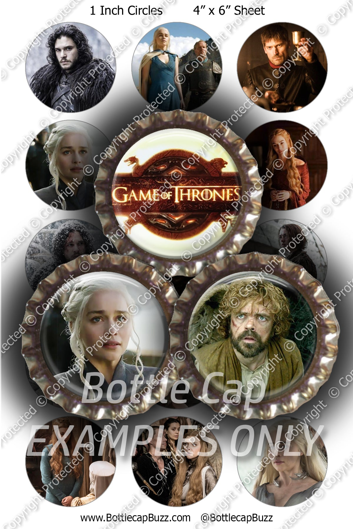 Digital Bottle Cap Images - Game of Thrones 2 Collage Sheet