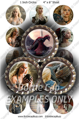 Digital Bottle Cap Images - Game of Thrones Mother of Dragons Collage Sheet (R1115) 1 Inch Circles for Bottlecaps, Magnets, Jewelry, Hairbows, Buttons15