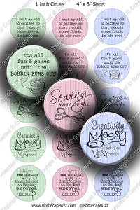 Digital Bottle Cap Images - Sewing Sayings Collage Sheet (R1116) 1 Inch Circles for Bottlecaps, Magnets, Jewelry, Hairbows, Buttons1