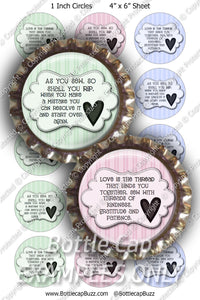 Digital Bottle Cap Images - Sewing Patches Collage Sheet (R1117) 1 Inch Circles for Bottlecaps, Magnets, Jewelry, Hairbows, Buttons1