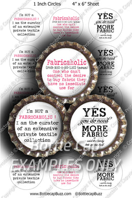Digital Bottle Cap Images - Fabricaholic Collage Sheet (R1119) 1 Inch Circles for Bottlecaps, Magnets, Jewelry, Hairbows, Buttons1