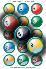 Digital Bottle Cap Images - Pool Balls Collage Sheet (R1120) 1 Inch Circles for Bottlecaps, Magnets, Jewelry, Hairbows, Buttons1
