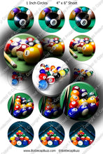 Digital Bottle Cap Images - Billiards Collage Sheet (R1121) 1 Inch Circles for Bottlecaps, Magnets, Jewelry, Hairbows, Buttons1