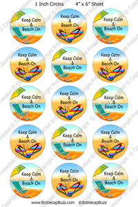 Digital Bottle Cap Images - Beach Bum Collage Sheet (R1122) 1 Inch Circles for Bottlecaps, Magnets, Jewelry, Hairbows, Buttons