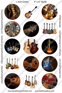 Digital Bottle Cap Images - Guitars Collage Sheet (R1123) 1 Inch Circles for Bottlecaps, Magnets, Jewelry, Hairbows, Buttons