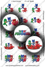 Digital Bottle Cap Images - PJ Masks Collage Sheet (R1124) 1 Inch Circles for Bottlecaps, Magnets, Jewelry, Hairbows, Buttons
