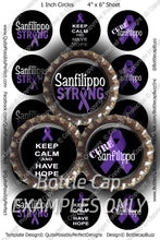 Digital Bottle Cap Images - Sanfilippo Awareness Collage Sheet (R1128) 1 Inch Circles for Bottlecaps, Magnets, Jewelry, Hairbows, Buttons
