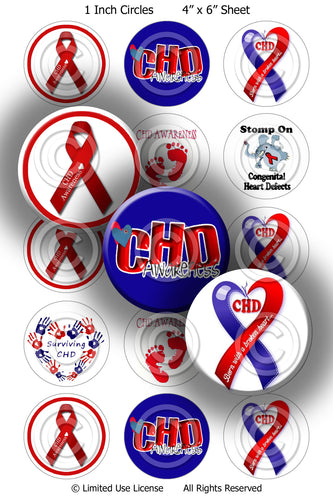 Digital Bottle Cap Images -  CHD Awareness Collage Sheet (R724) 1 Inch Circles for Bottlecaps, Magnets, Jewelry, Hairbows, Buttons