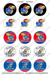 Digital Bottle Cap Images - Kansas Jayhawks Collage Sheet (S233) 1 Inch Circles for Bottlecaps, Magnets, Jewelry, Hairbows, Buttons