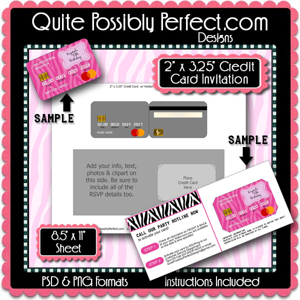 Credit Card Invitation Template Instant Download PSD and PNG Formats (T739) Digital Collage Sheet Template