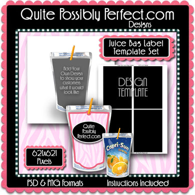 Juice Bag Label Preview Template & Design Template Set - Instant Download PSD and PNG Formats (Temp740) Digital Bottlecap Collage Sheet Template