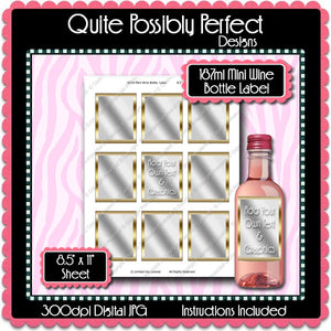 Digital Gold Frame Mini Wine Bottle Label  -  Instant Download (M163) Digital Party Graphics - PERSONAL USE Only