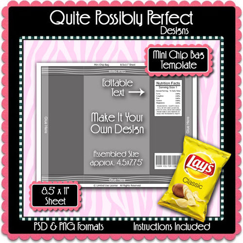 Mini Chip Bag Template Instant Download PSD and PNG Formats (Temp719) 8.5x11