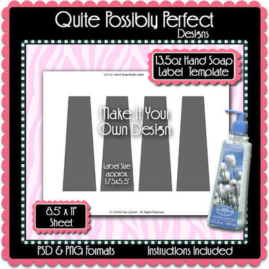 13.5oz Liquid Soap Label Template Instant Download PSD, PNG and TIFF Formats (Temp721) 8.5x11
