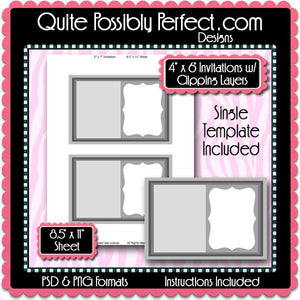 "4x6"" InvitationTemplate with Clipping Layers Instant Download PSD and PNG Formats (Temp724) Digital Bottlecap Collage Sheet Template"