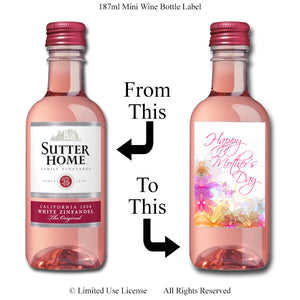 Digital Mother's Day 187ml Mini Wine Bottle Label  -  Instant Download (M175) Digital Party Graphics - PERSONAL USE Only