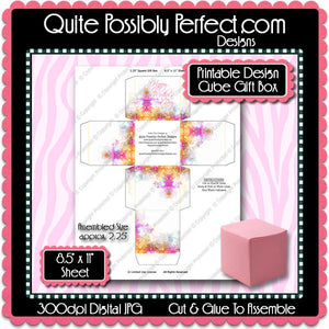 "Digital Mother's Day 2.25"" Cube Gift Box  -  Instant Download (M173) Digital Party Graphics - PERSONAL USE Only"