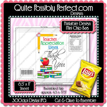 Digital Teacher Appreciation Mini Chip Bag  -  Instant Download (M176) Digital Party Graphics - PERSONAL USE Only