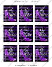 Digital Fabulous 50 Purple Mini Wine Bottle Label  -  Instant Download (M160) Digital Party Graphics - PERSONAL USE Only