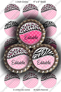 Editable Bottle Cap Images - Instant Download JPG & PDF Formats - Pink Animal Print (ET219) Digital Bottlecap Collage Sheet