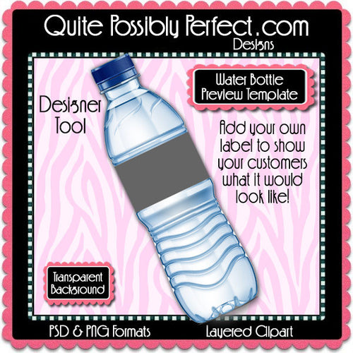 Blue Water Bottle Label Preview Template Instant Download PSD and PNG Formats (Temp726) Digital Bottlecap Collage Sheet Template