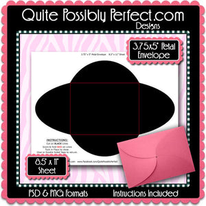 "3.75"" x 5"" Petal Envelope Template Instant Download PSD and PNG Formats (Temp731) Digital Bottlecap Collage Sheet Template"