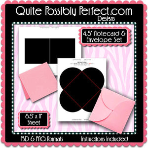 "4.4"" Square Notecard & 4.5"" Petal Envelope Template Set - Instant Download PSD and PNG Formats (Temp730) Digital Note Card Template"