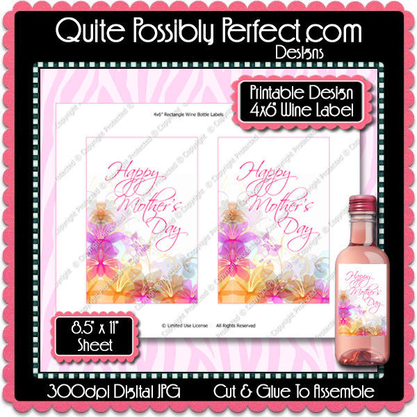 Digital Mother's Day Wine Bottle Label  -  Instant Download (M174) Digital Party Graphics - PERSONAL USE Only