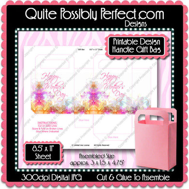 Digital Mother's Day Handle Gift Box  -  Instant Download (M172) Digital Party Graphics - PERSONAL USE Only