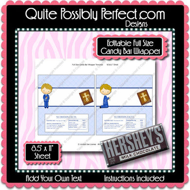 Digital Communion BLONDE Boy Candy Bar Label  -  Instant Download (M146) Digital Party Graphics - PERSONAL USE Only