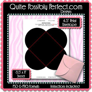 "4.5"" Square Petal Envelope Template Instant Download PSD and PNG Formats (Temp730) Digital Bottlecap Collage Sheet Template"