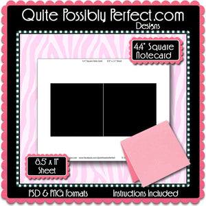 "4.4"" Square Notecard Template Instant Download PSD and PNG Formats (Temp734) Digital Note Card Template"
