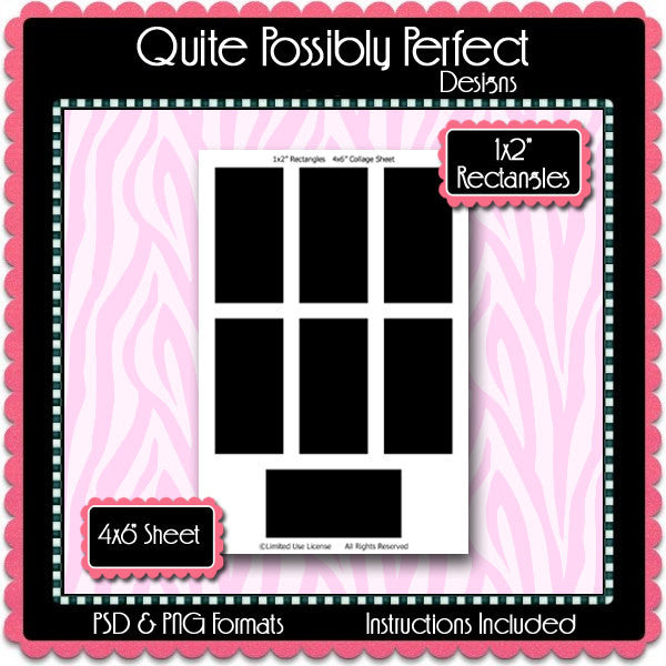 1x2 Inch Rectangle Template Instant Download PSD and PNG Formats (Temp5) 1x2 Rectangle Doomino Digital Bottlecap Collage Sheet Template