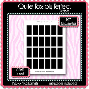 "1x2"" Rectangles Template Instant Download PSD and PNG Formats (Temp16) 1x2"" Domino Rectangles Digital Bottlecap Collage Sheet Template"