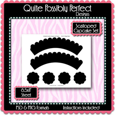 Scalloped Cupcake Wrapper & Topper Set Template Instant Download PSD and PNG Formats (Temp52) Digital Bottle Cap Collage Sheet Template