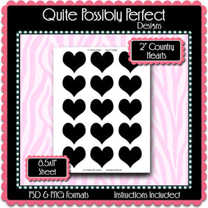 "2"" Counrty Hearts Template Instant Download PSD and PNG Formats (Temp67) Digital Bottlecap Collage Sheet Template"