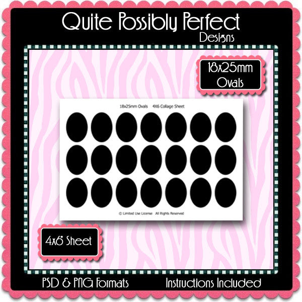 18x25mm Ovals Template Instant Download PSD and PNG Formats (Temp45) Digital Bottlecap Collage Sheet Template