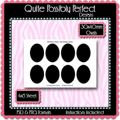30x40mm Ovals Template Instant Download PSD and PNG Formats (Temp38) Digital Bottlecap Collage Sheet Template